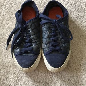 Tory Burch Navy quilted leather sneakers